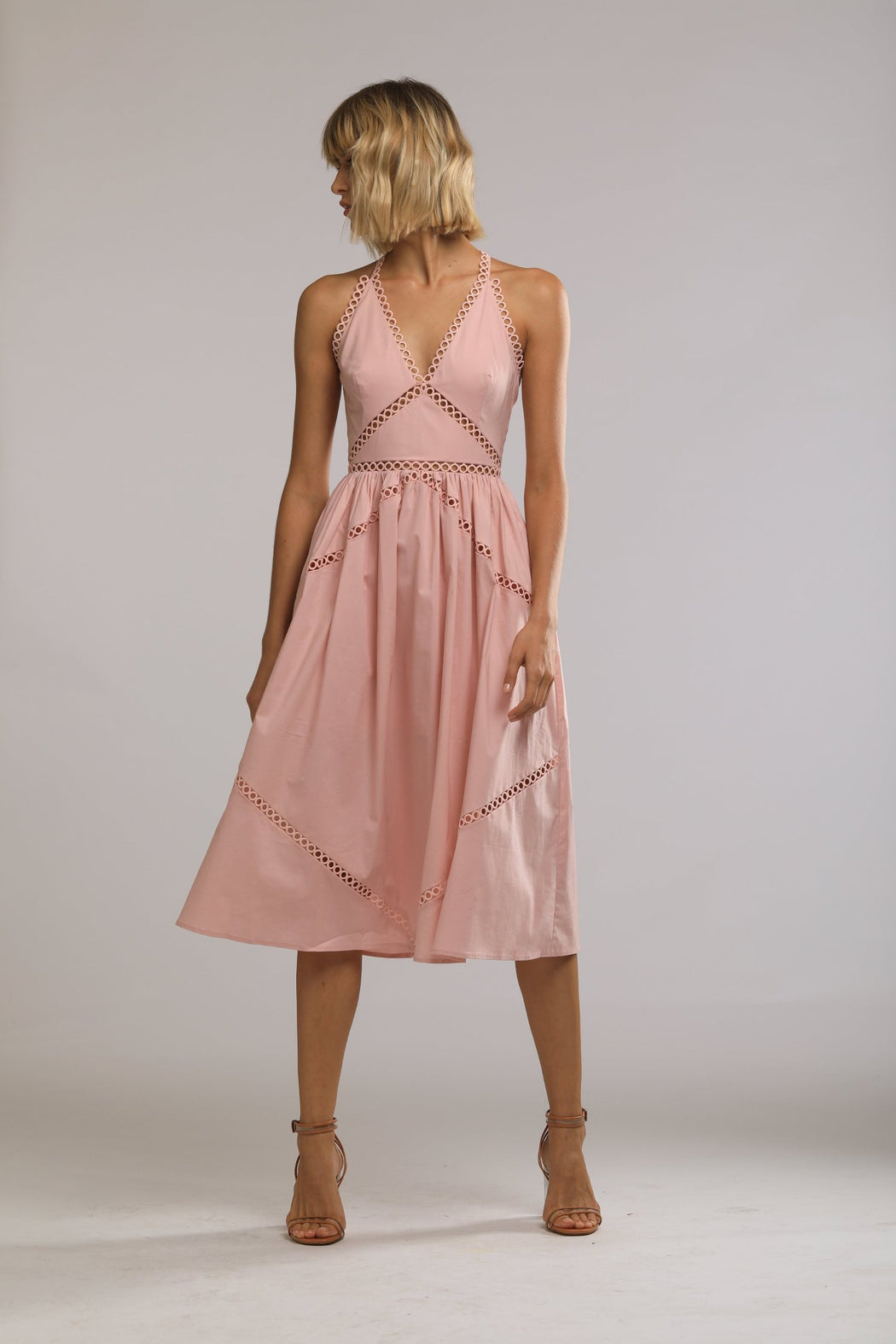 Colbie Cotton Eyelet Dress (Pink) - SAU LEE