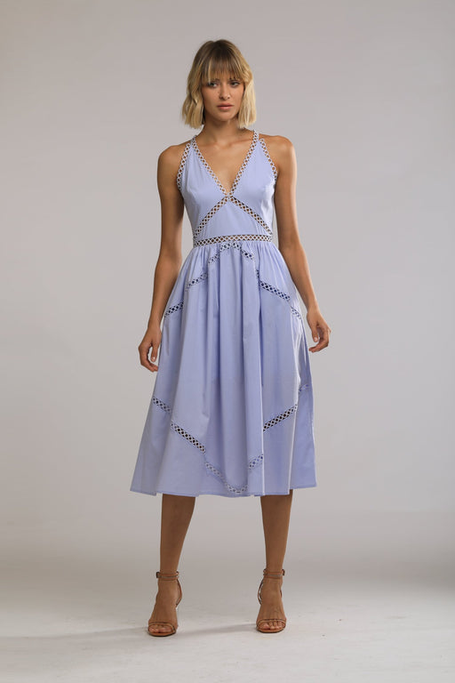Colbie Cotton Eyelet Dress (Periwinkle Blue) - SAU LEE