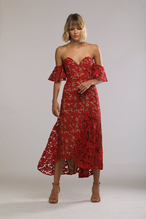 Scarlett Guipure Lace Off-The-Shoulder Dress (Red) - SAU LEE