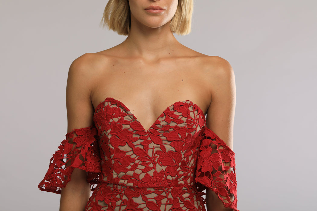 Scarlett Cotton Lace Off-The-Shoulder Dress (Red) - SAU LEE