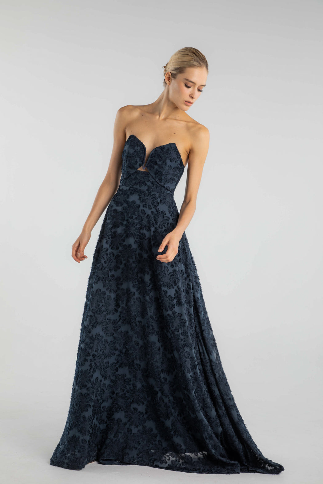 Nanette Strapless Textured Georgette Gown