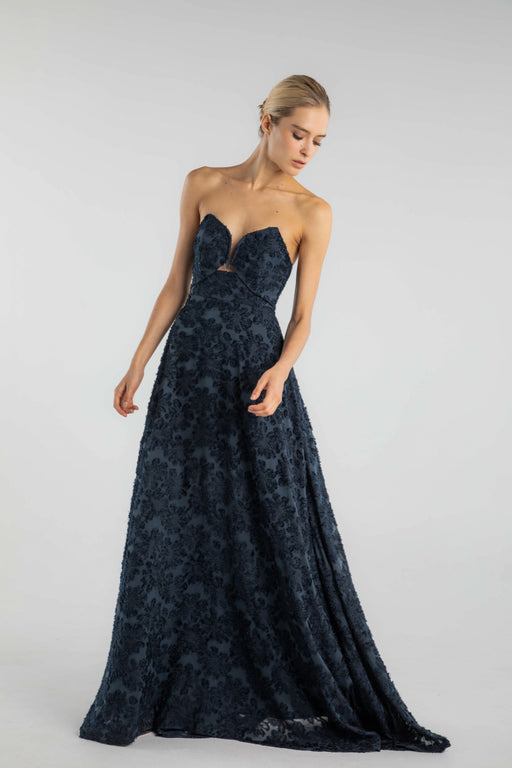 Nanette Strapless Textured Georgette Gown - SAU LEE