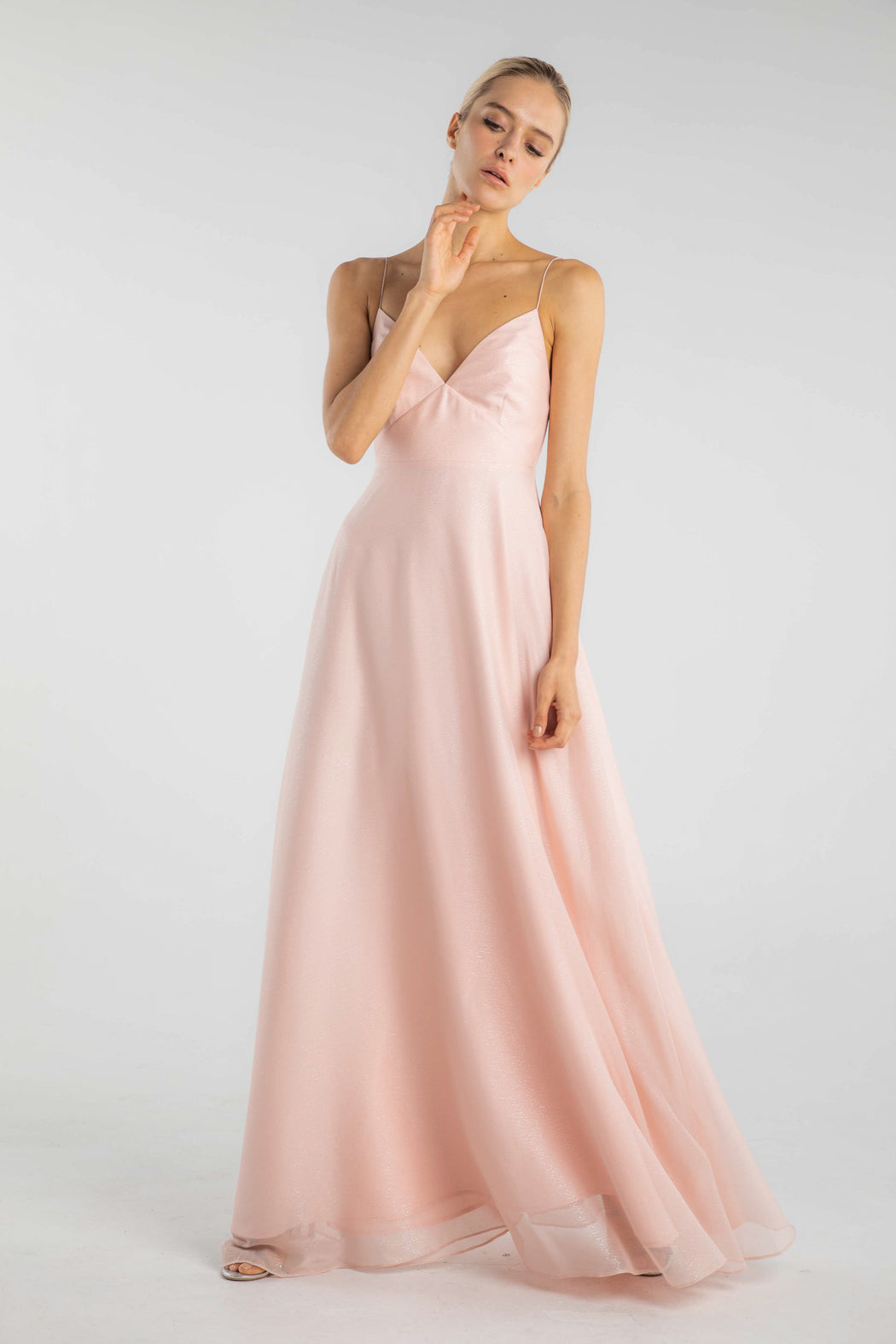 Evelyn Sparkle Chiffon Gown (Pink)