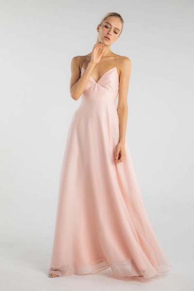 Evelyn Sparkle Chiffon Gown (Pink) - SAU LEE