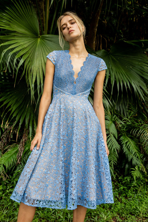 Emma Floral Lace Midi Dress (Blue) - SAU LEE
