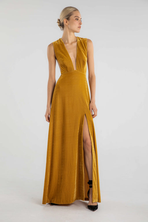 Genevie Velvet Gown (Mustard)
