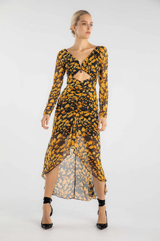 Michella Leaf Print Midi Dress
