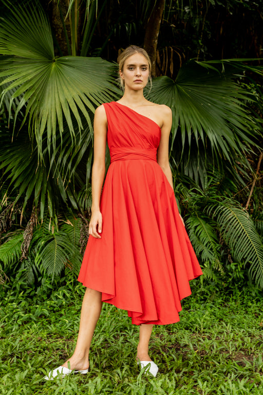 Andrea Cotton Midi Dress (Red) - SAU LEE