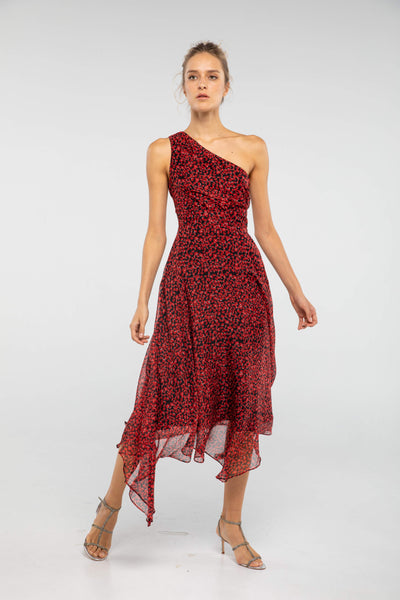 Salome Poppy Print Midi Dress - SAU LEE