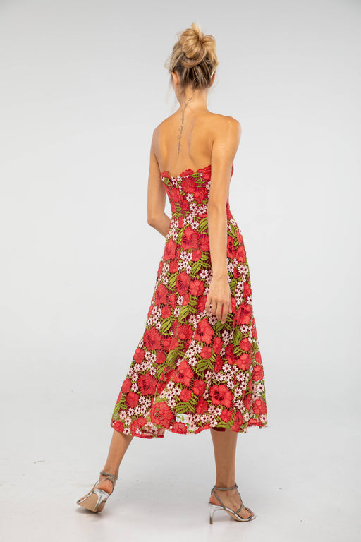 Camila Strapless Floral Lace Dress - SAU LEE
