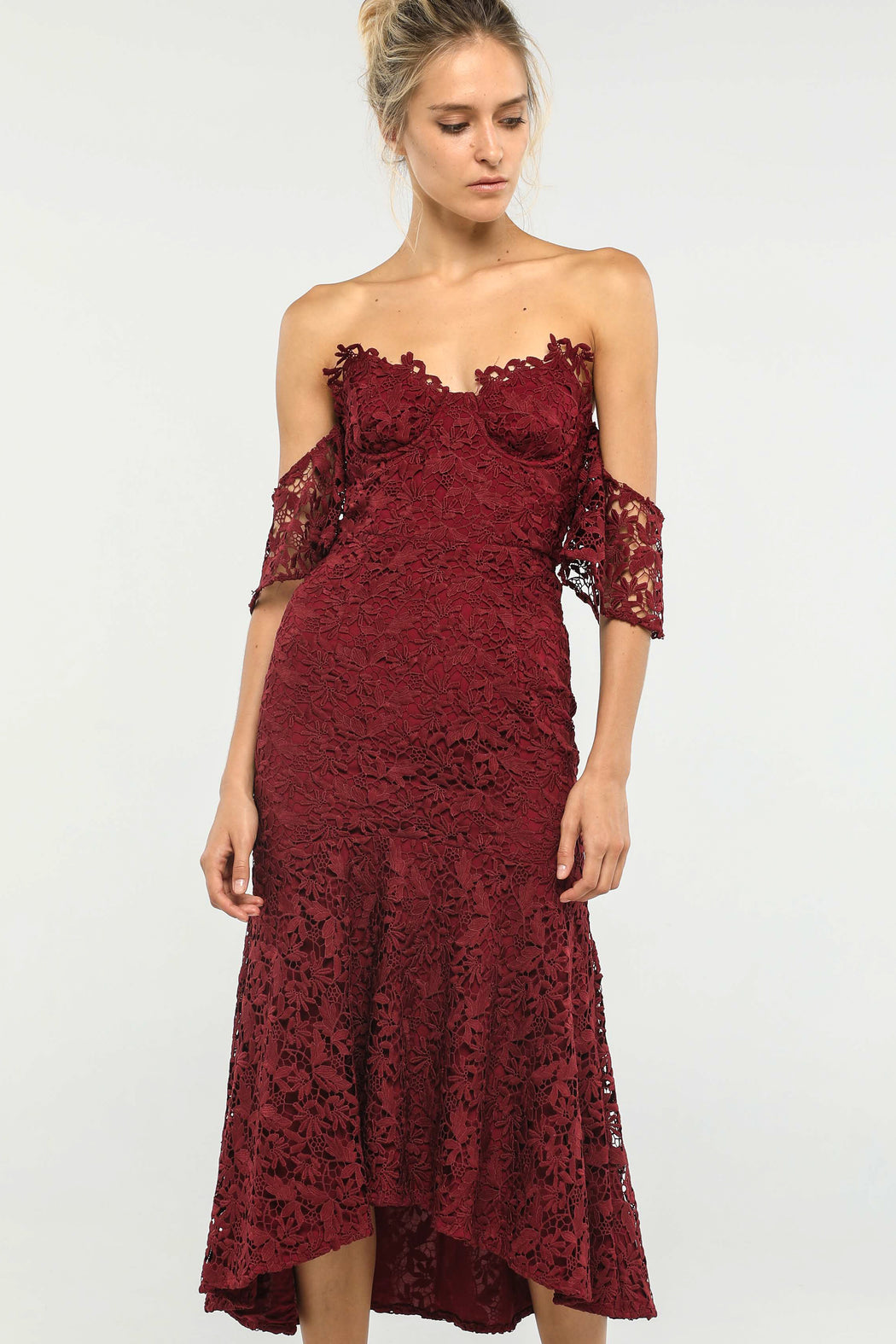 Micaela Lace Off-the-shoulder Dress (Burgundy) - SAU LEE