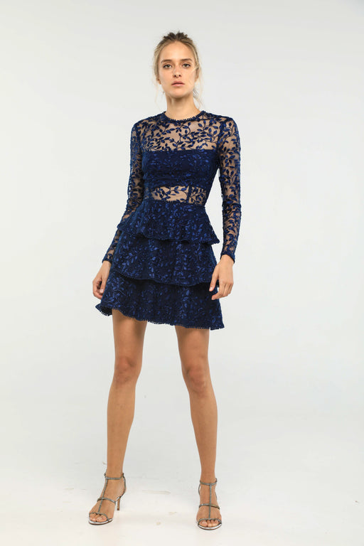 Esther Embroidered Tiered Mini Dress (Navy)