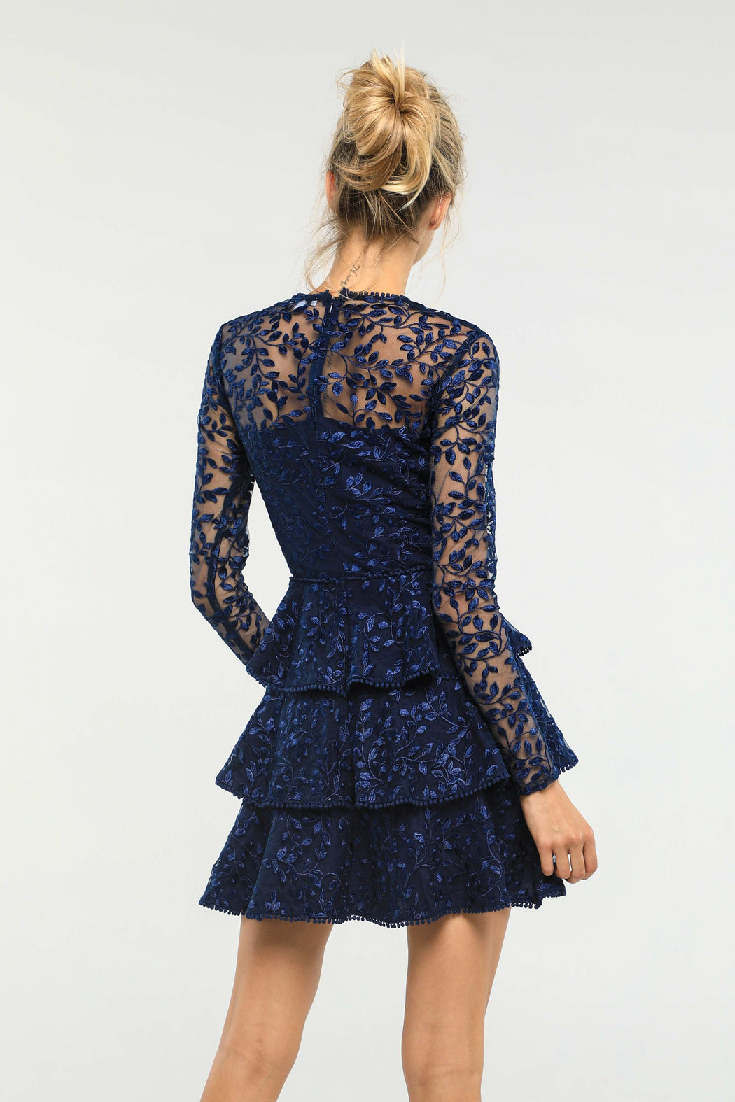 Esther Embroidered Tiered Mini Dress (Navy) - SAU LEE