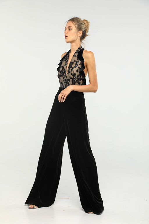 Margaux Velvet Halter Neck Jumpsuit (Black) - SAU LEE