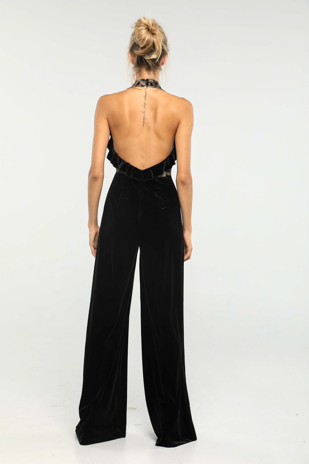 Margaux Velvet Halter Neck Jumpsuit (Black)