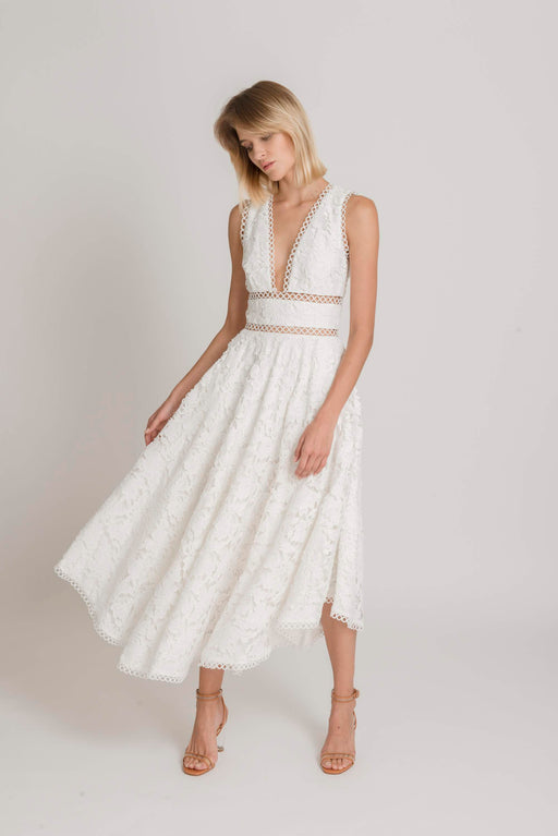 Abigail Guipure Lace Open Back Dress (White) - SAU LEE