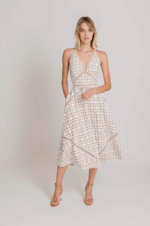 Brooke Guipure Lace Midi Dress (White) - SAU LEE