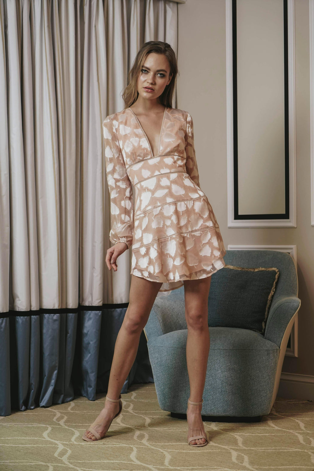 Nola Silk Devoré Mini Dress - SAU LEE