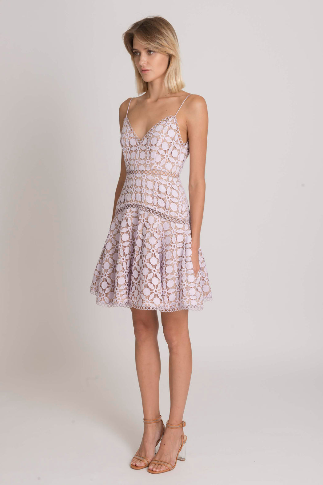 Piper Guipure Lace Fit And Flare Dress (Lavender) - SAU LEE