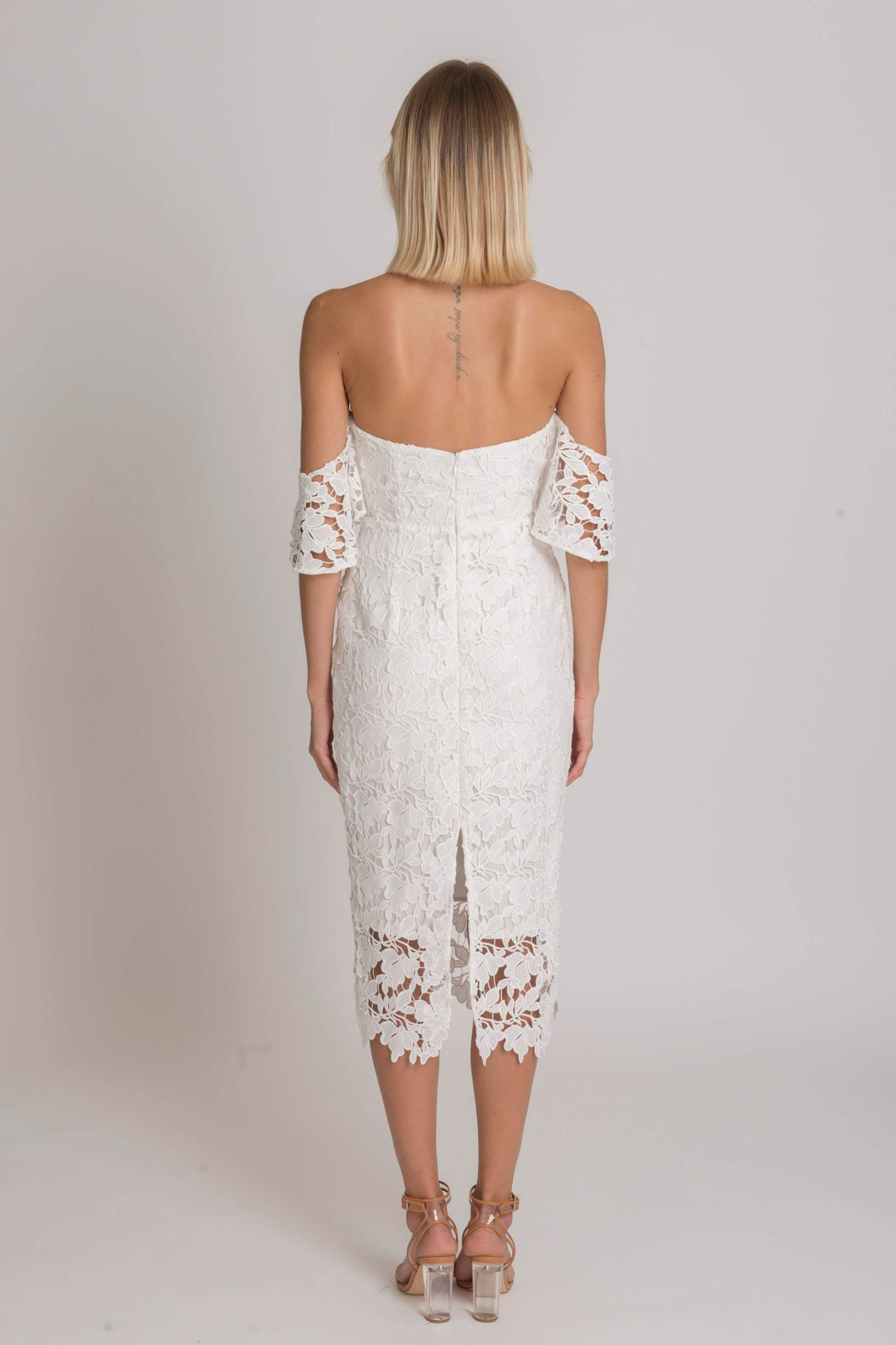 Ella Guipure Lace Off-The-Shoulder Dress (White) - SAU LEE