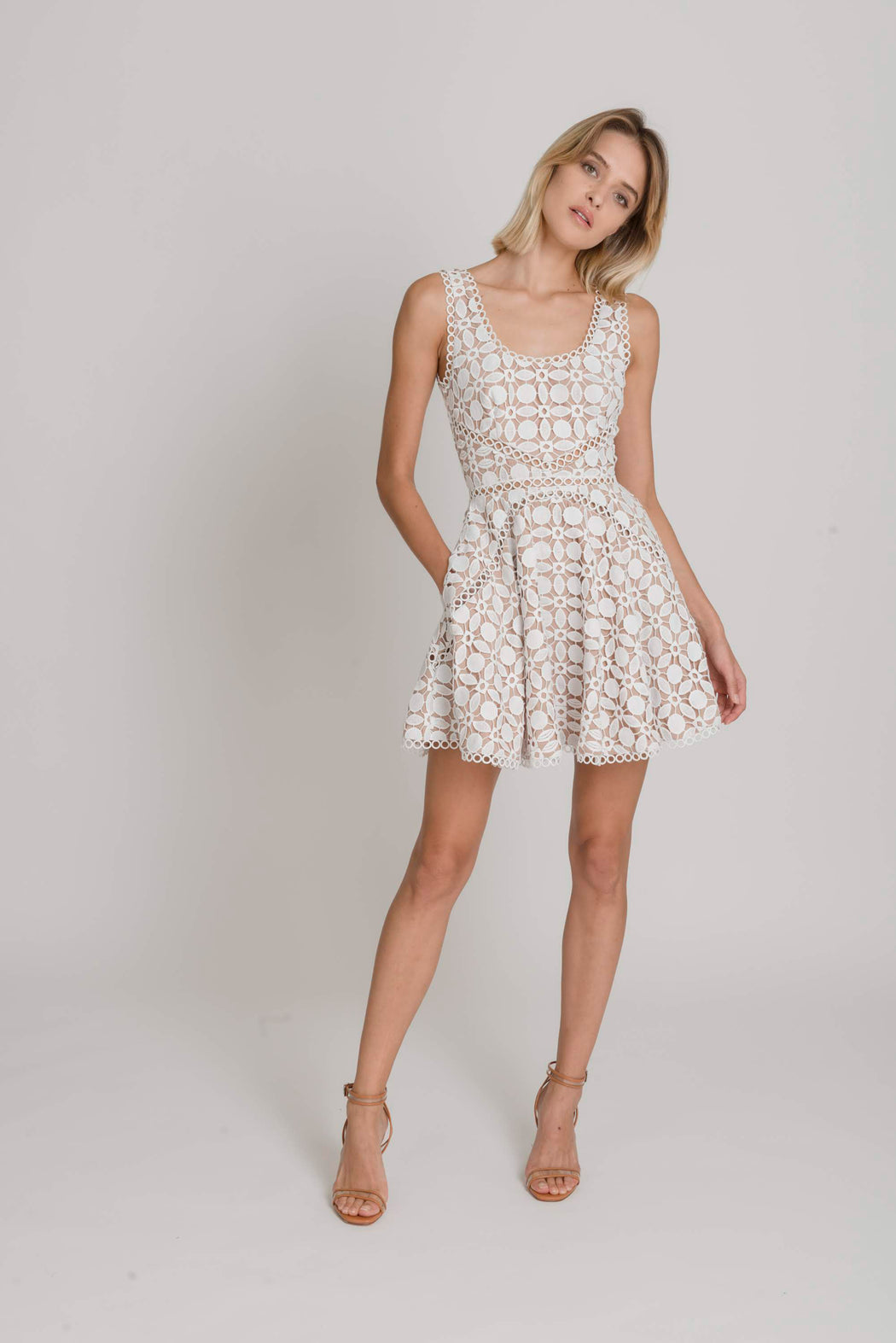 Luna Guipure Lace Mini Dress (White) - SAU LEE