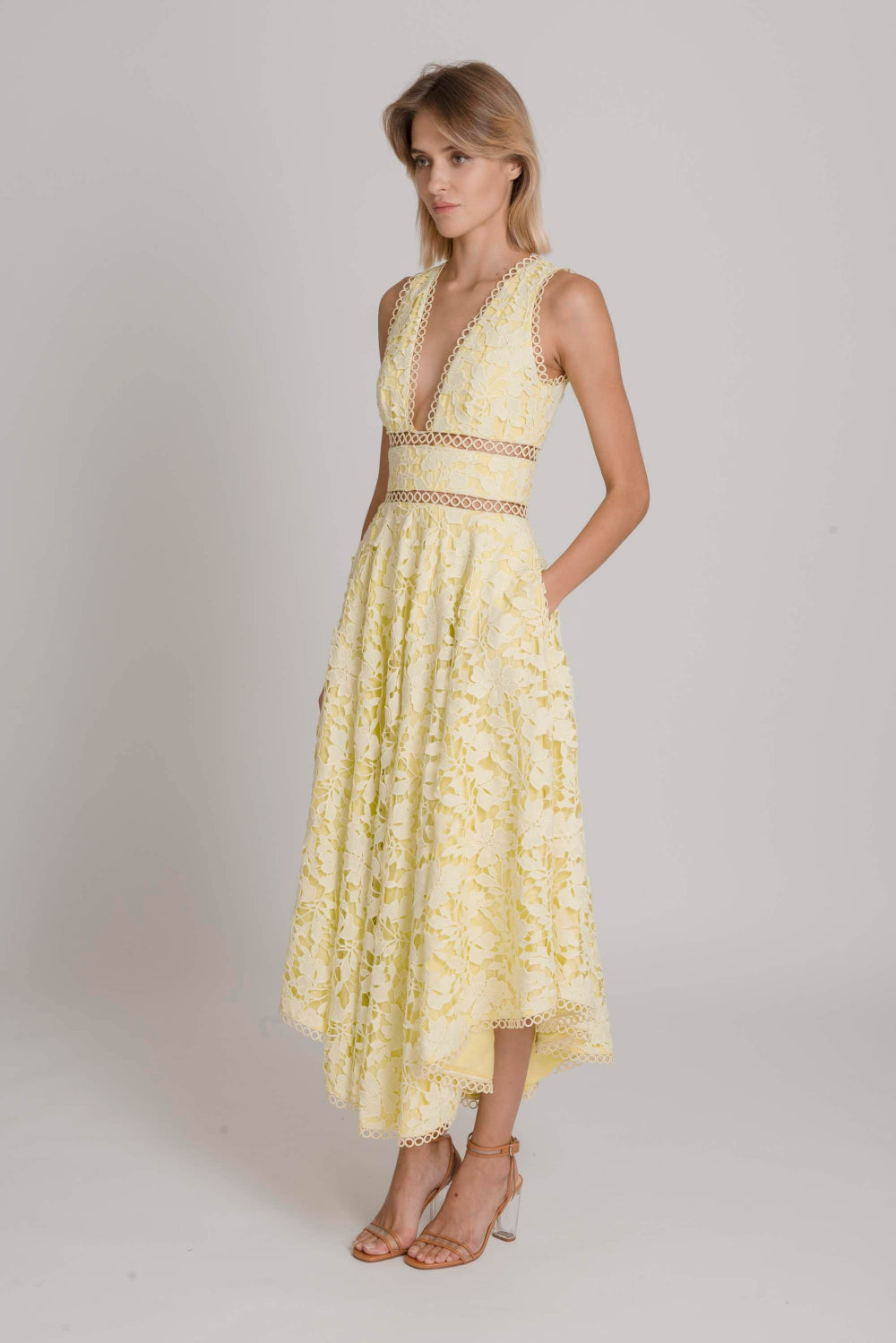 Abigail Guipure Lace Open Back Dress (Yellow) - SAU LEE