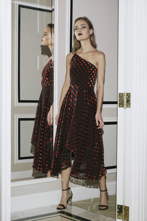 Kristyn Velvet Polka Dot Devoré Midi Dress