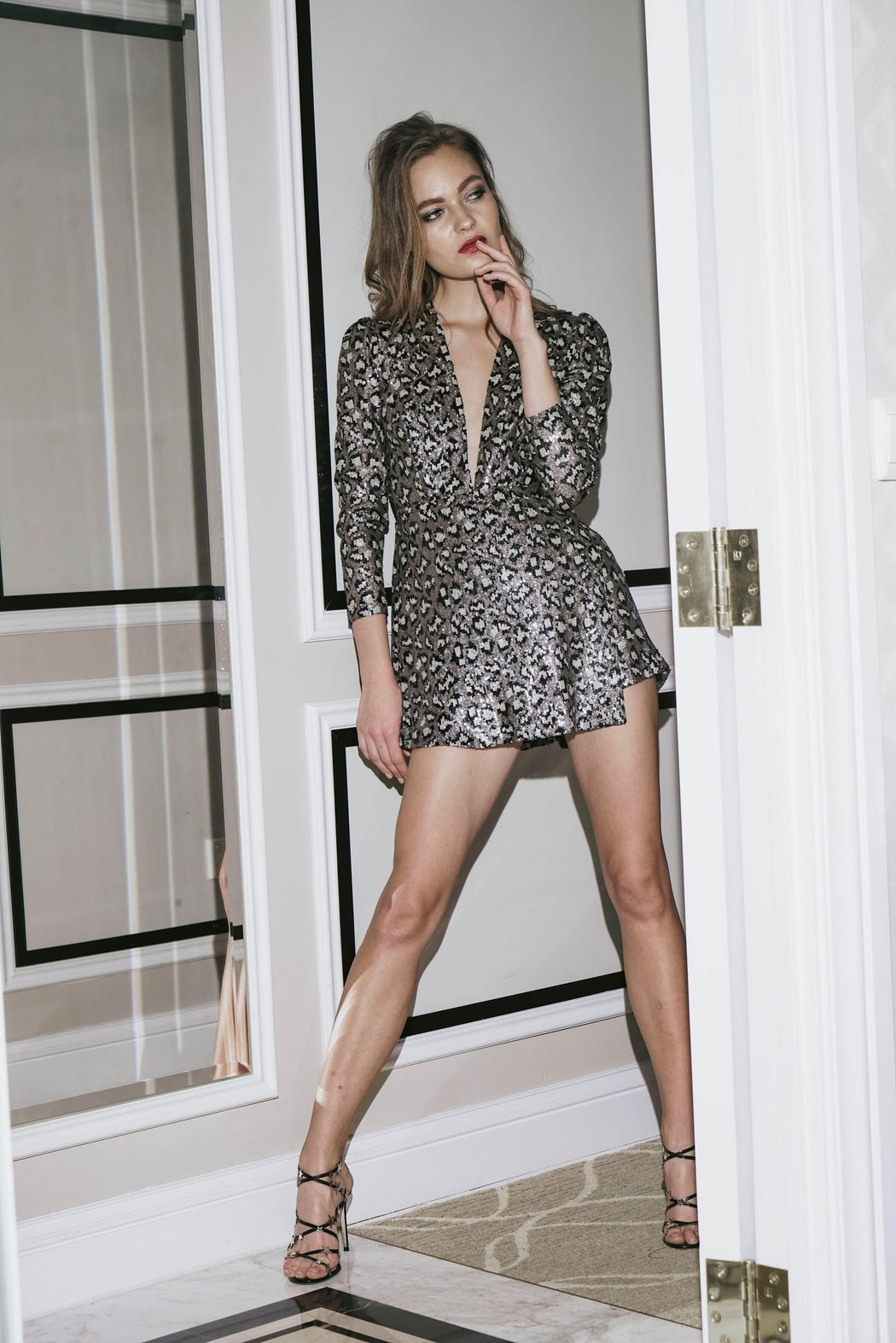 Samantha Leopard Sequin Romper - SAU LEE