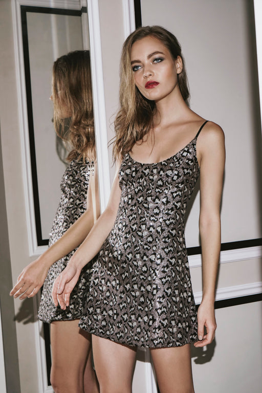 Stephanie Leopard Sequin Mini Dress