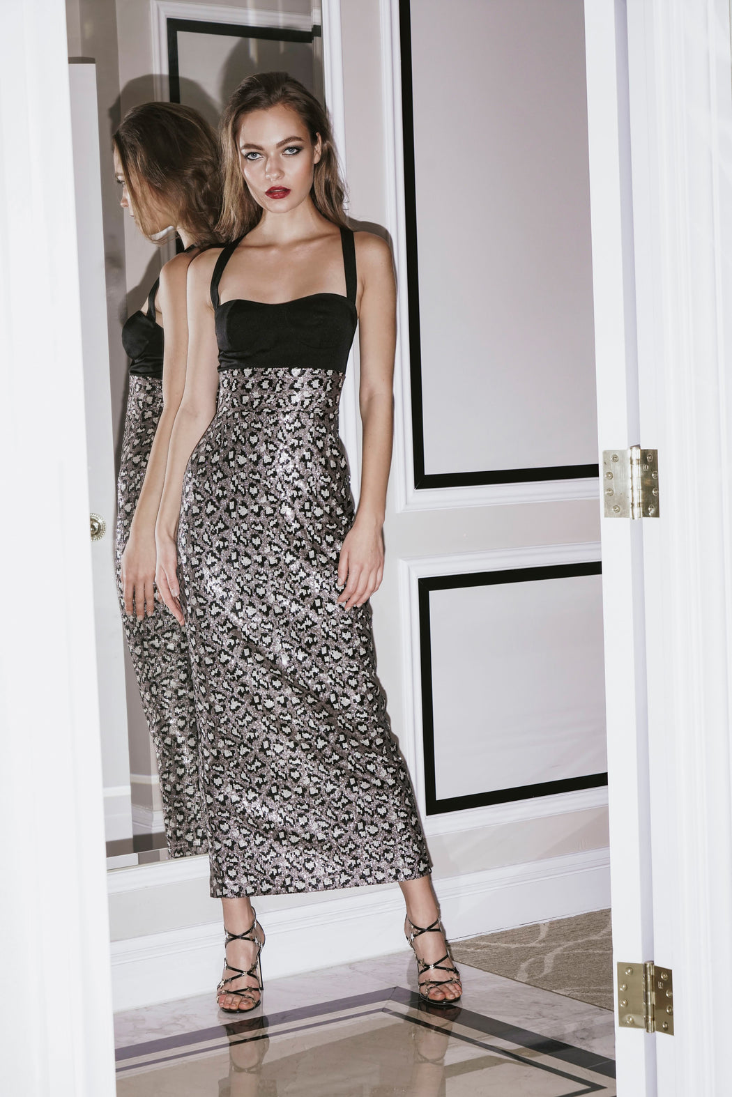 Shannon Leopard Sequin Pencil Dress