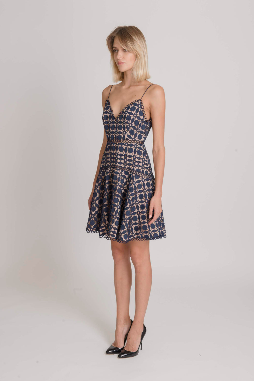 Piper Guipure Lace Fit And Flare Dress (Navy) - SAU LEE