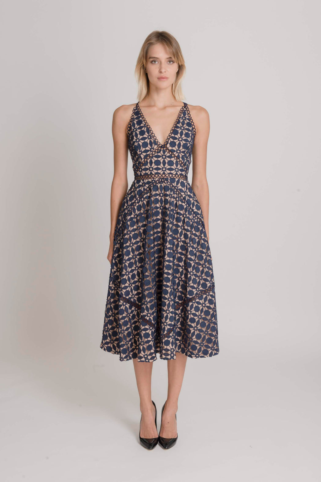 Brooke Guipure Lace Midi Dress (Navy) - SAU LEE