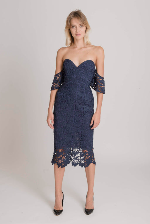 Ella Guipure Lace Off-The-Shoulder Dress (Navy) - SAU LEE