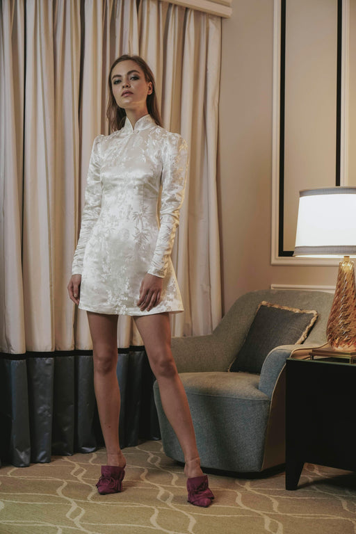 Joyce Chinese Jacquard Mini Dress (Ivory) - SAU LEE