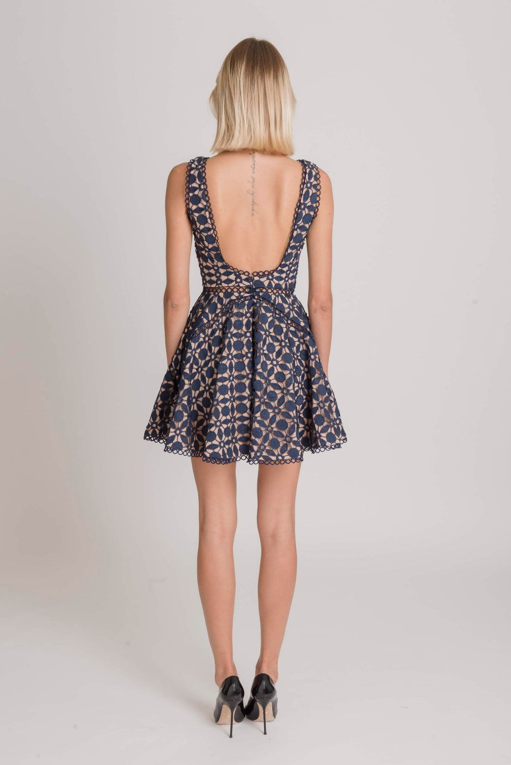 Luna Guipure Lace Mini Dress (Navy) - SAU LEE