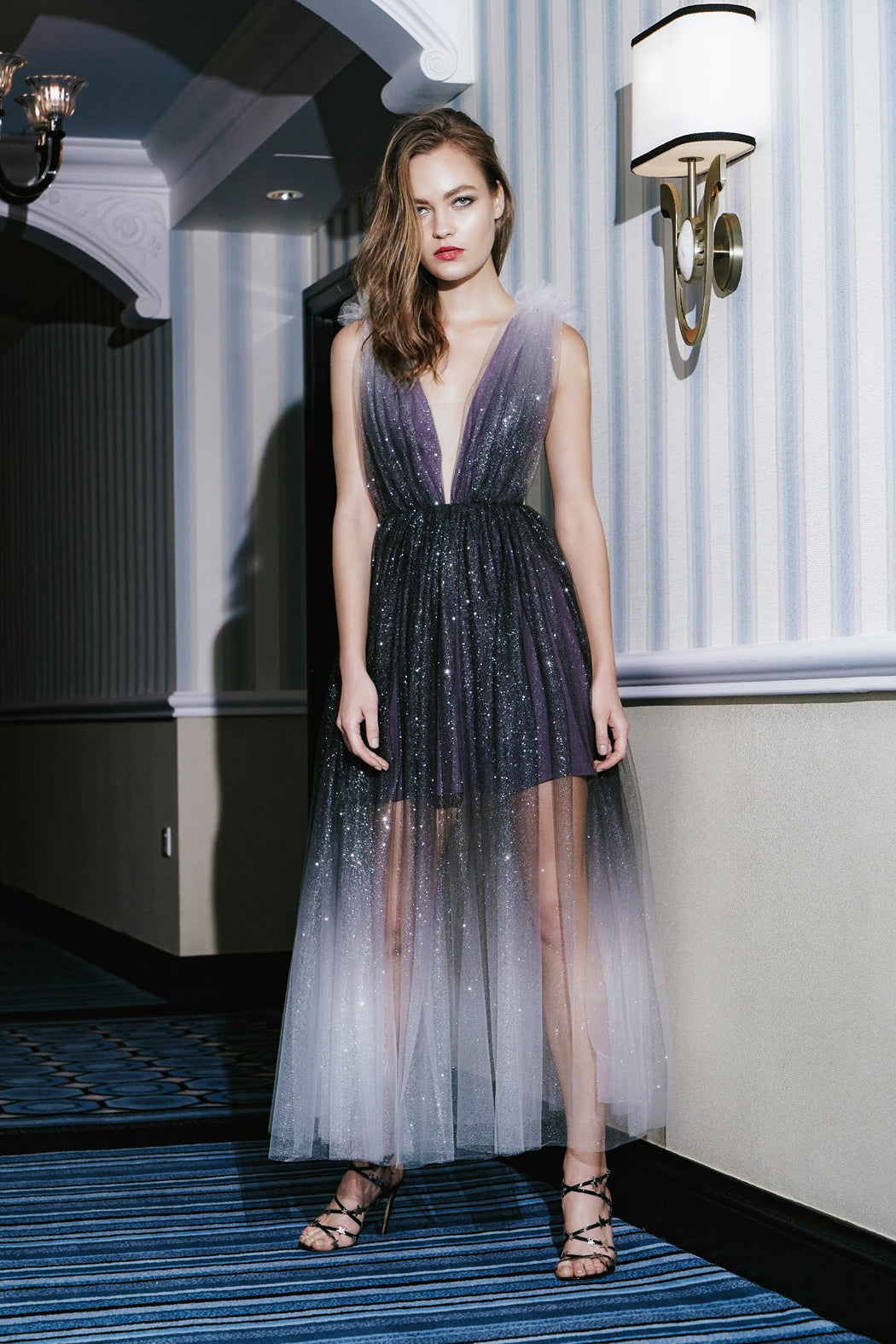Heather Ombre Glitter Tulle Midi Dress