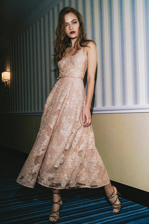 Fleur Embellished Tulle Midi Dress