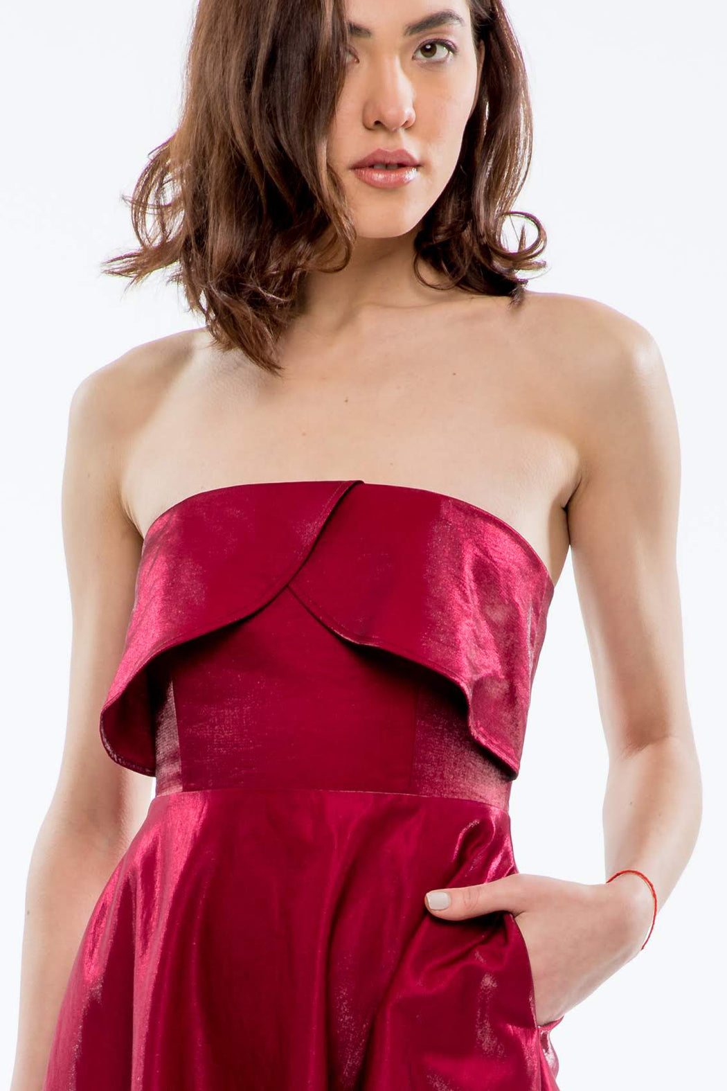 Viola Strapless Jacquard Dress (Burgundy) - SAU LEE