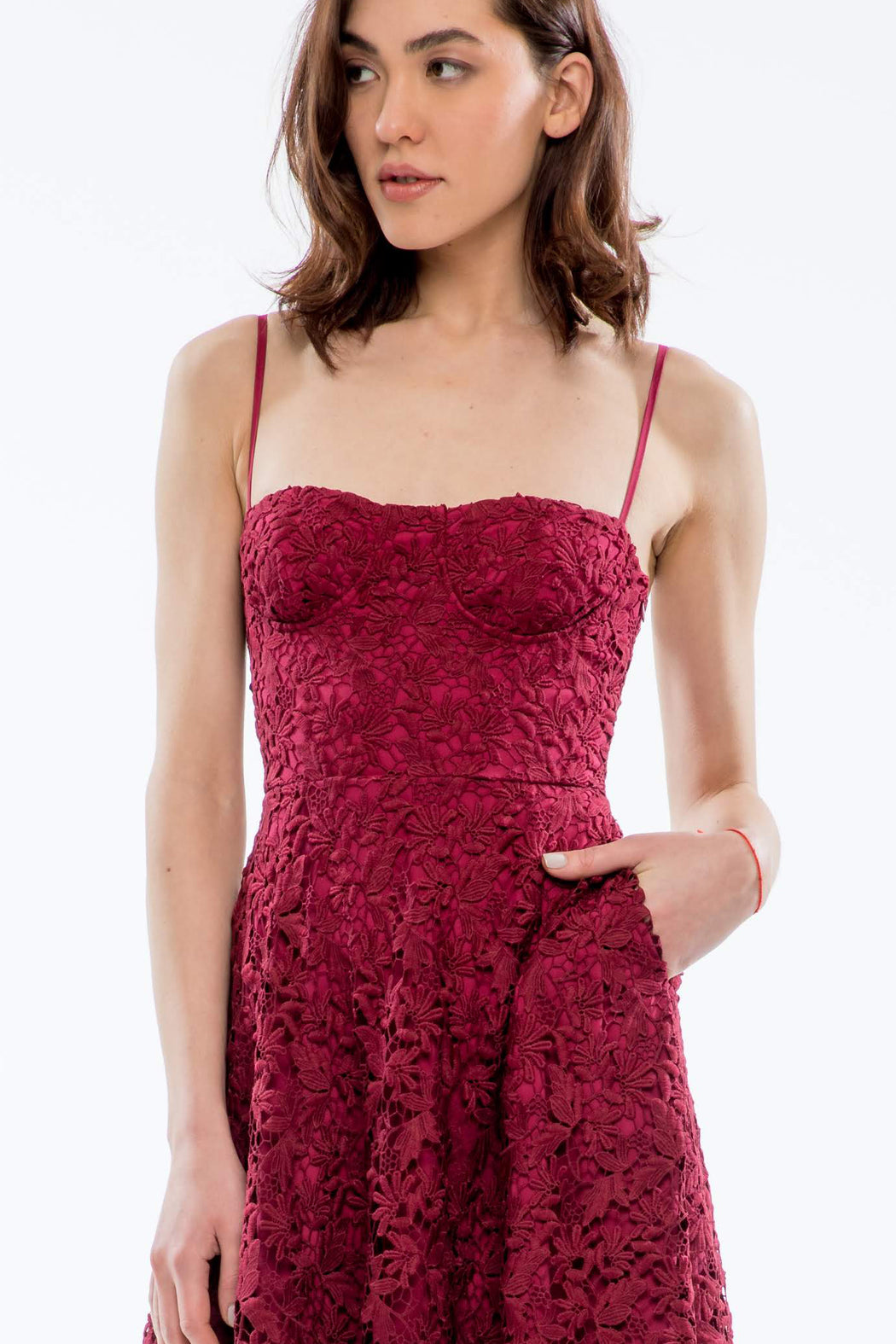 Valentine Guipure Lace Bustier Dress (Burgundy) - SAU LEE