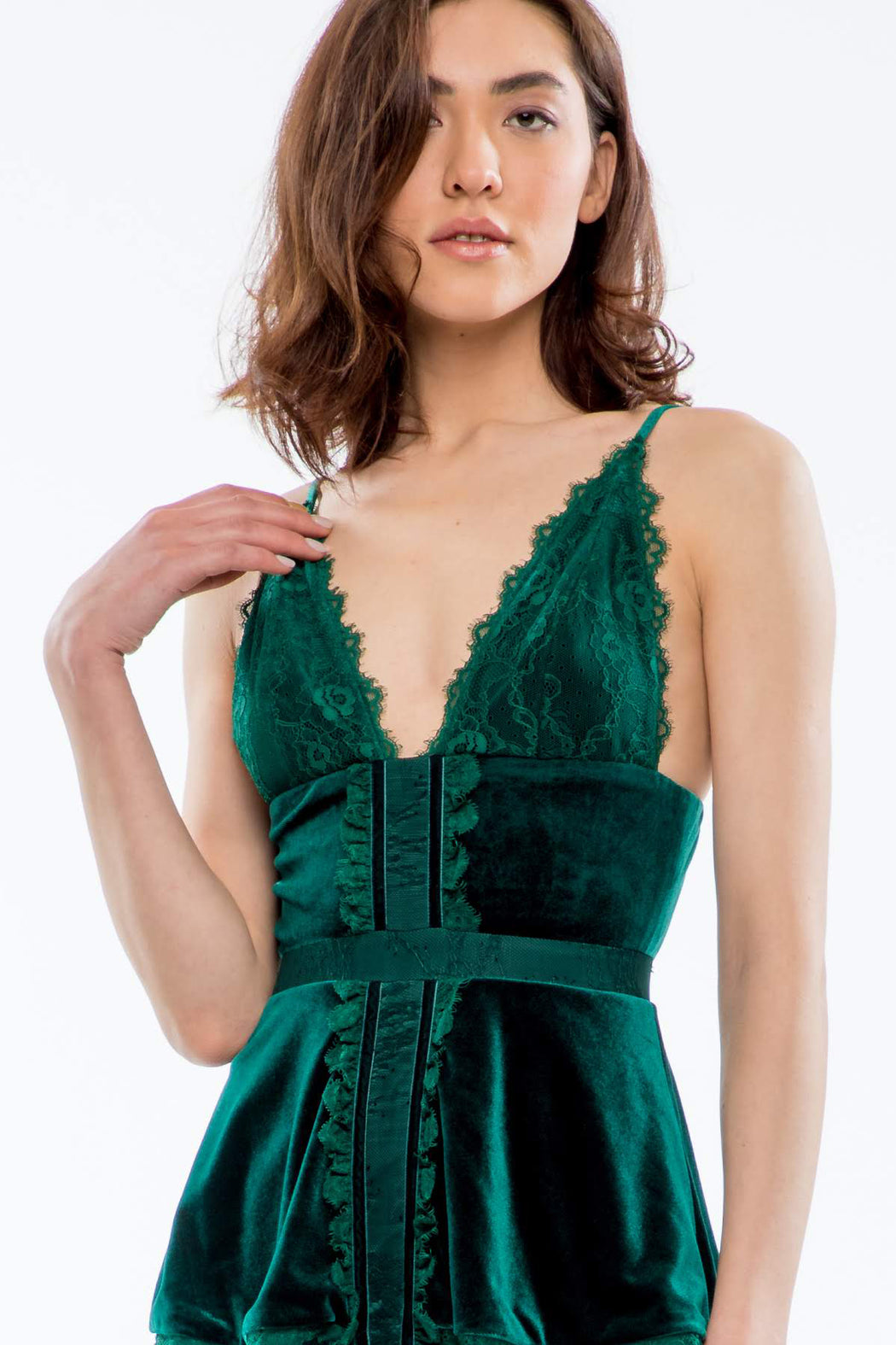 Bridget Lace and Velvet Midi Dress (Emerald) - SAU LEE