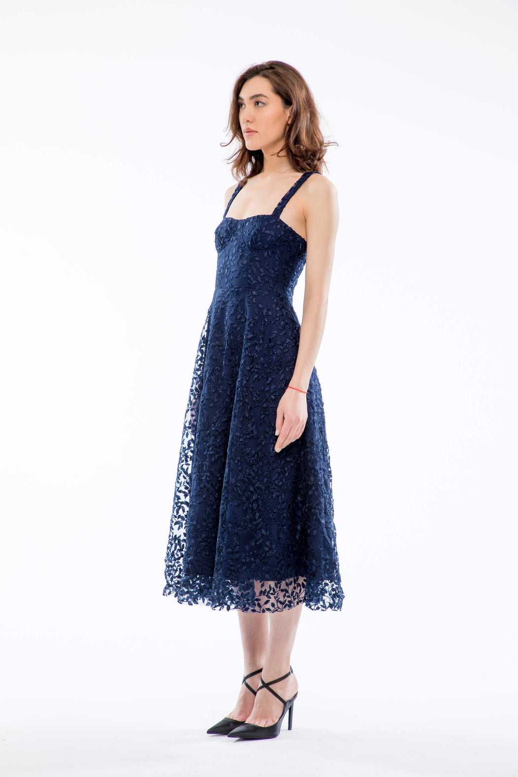 Ambrose Embroidered Bustier Midi Dress (Navy) - SAU LEE