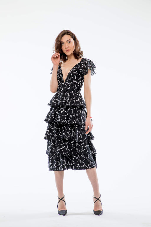 Emilia Tiered Embroidered Midi Dress (Black) - SAU LEE