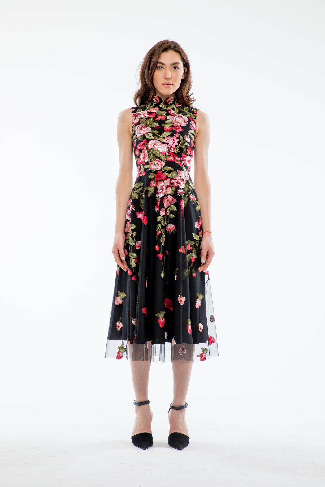 Victoria Floral Embroidery Mandarin Collar Dress - SAU LEE