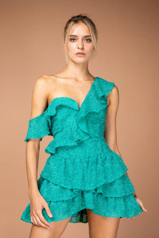 Gia Ruffle Mini Dress (Green) - SAU LEE
