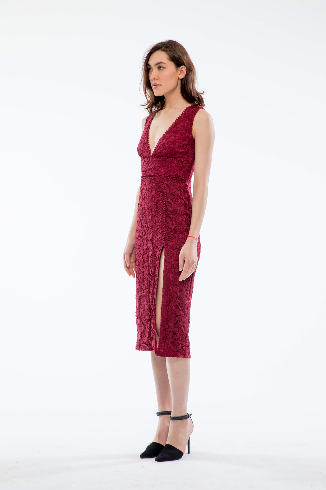 Kiera Guipure Lace V-Neck Dress (Burgundy) - SAU LEE