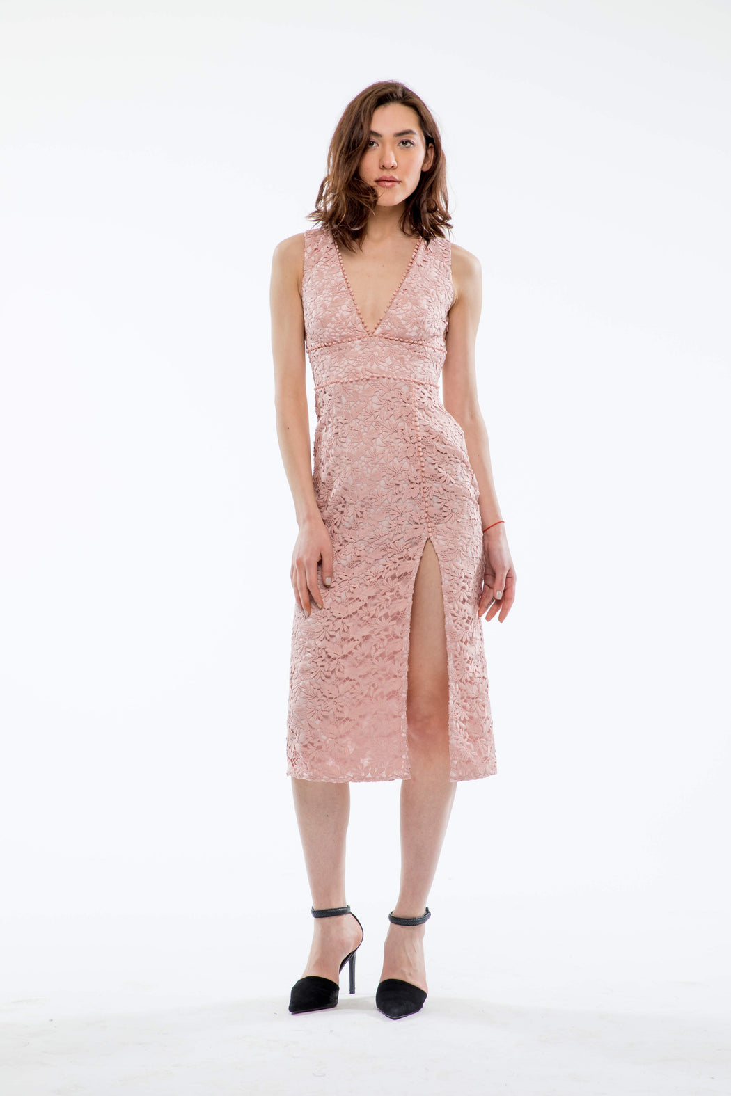 Kiera Guipure Lace V-Neck Dress (Pink) - SAU LEE