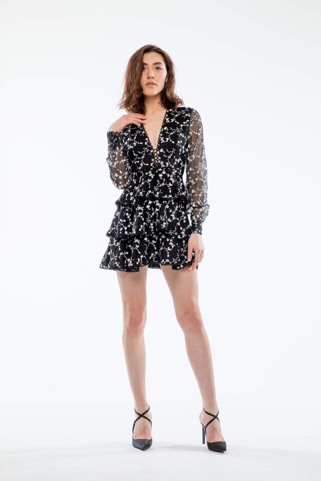 Isabel Tiered Embroidered Mini Dress (Black) - SAU LEE