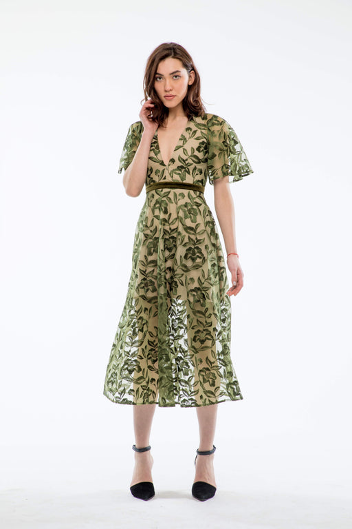 Lucia Embroidered Backless Dress (Olive) - SAU LEE
