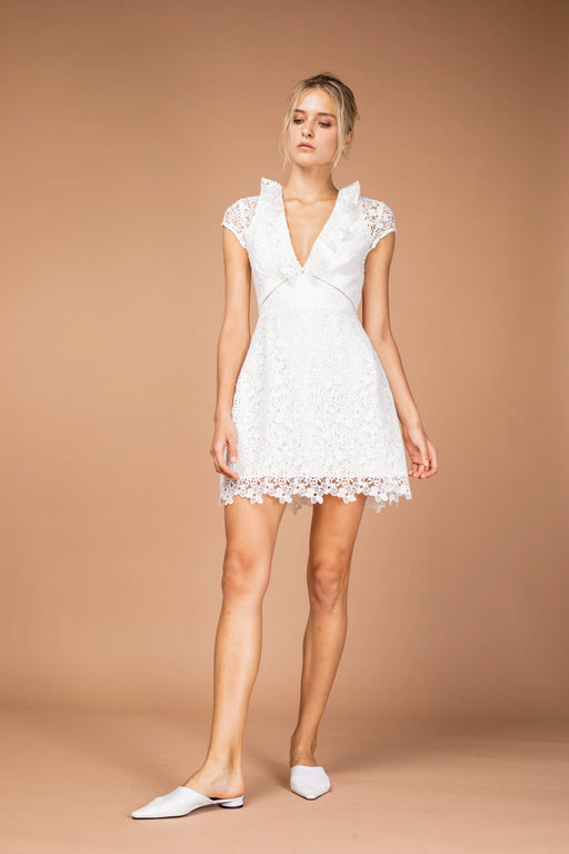 Flora Lace Mini Dress (White) - SAU LEE