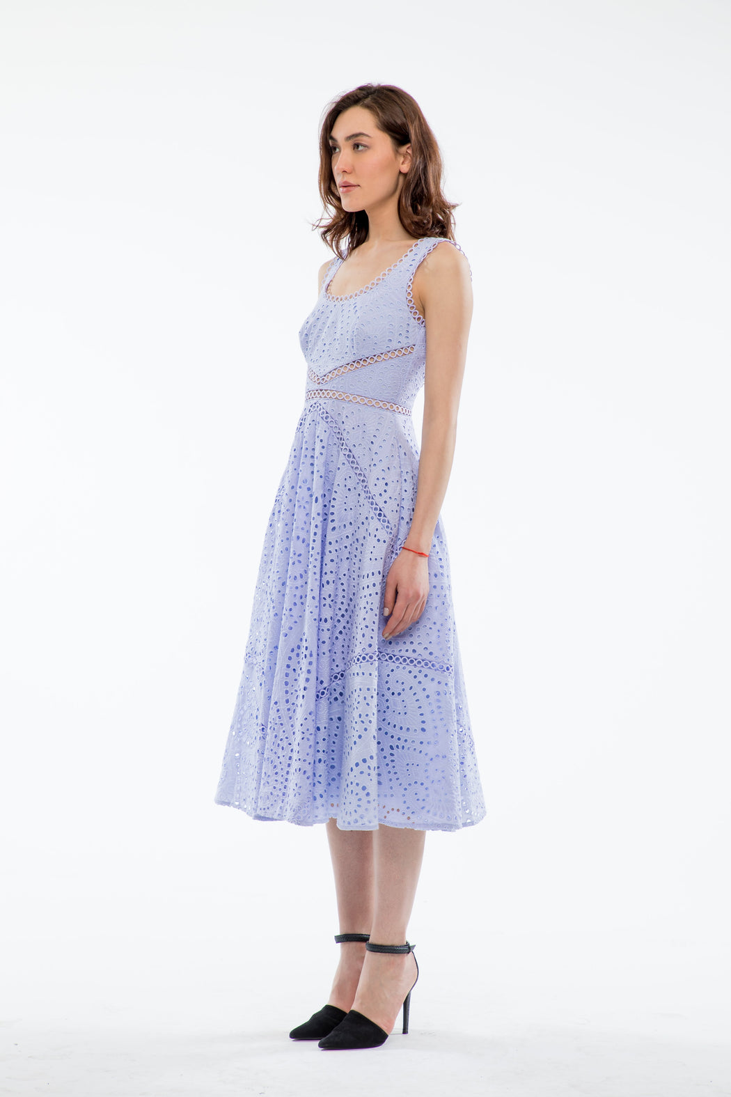 Maya Embroidered Cotton Scoop Back Dress (Periwinkle Blue) - SAU LEE
